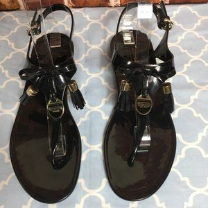 COACH Jelly Tassel Black Thongs Sandals Helma -- SZ 10